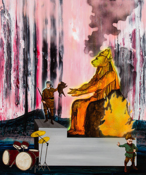 """Roosevelt Refuses Participation in Propitiatory Child Sacrifice to Moloch,"" by Ben White, acrylic and enamel on panel, 42 x 35 inches."