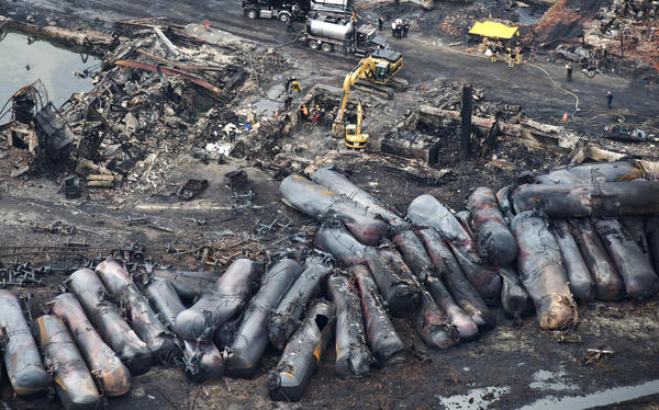 All but one of the 73 oil-laden tankers behind a Montreal, Maine & Atlantic Railway locomotive derailed when the runaway train plowed into the Quebec town of Lac-Megantic on July 6, igniting a massive fire that killed 47 people and destroyed much of the town center.