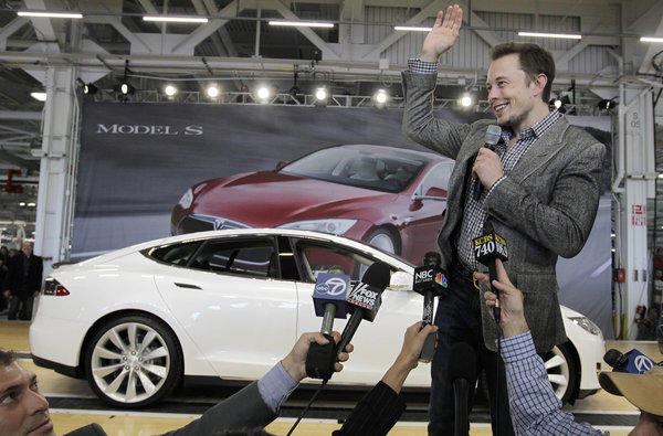 Elon Musk at a rally at the Tesla car factory in Fremont.