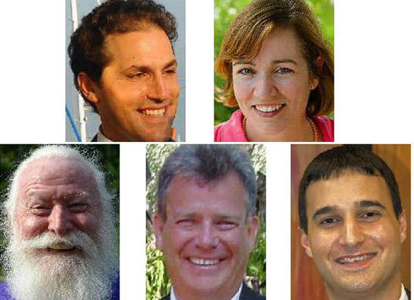 Democrat candidates for mayor of Annapolis are, top, from left, incumbent Josh Cohen and Bevin Buchheister. Republicans vying to become mayor are, bottom row, from left, Frank Bradley, Bob O'Shea and Mike Pantelides.
