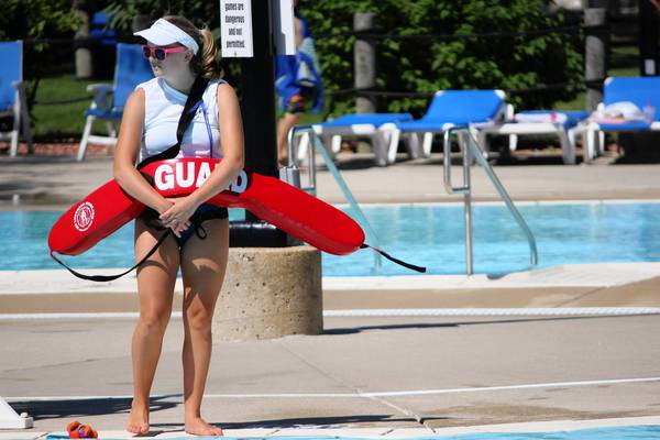 Lifeguard Haley Robin keeps a close eye on swimmers at the Centennial Park Aquatic Center in Orland Park in July.