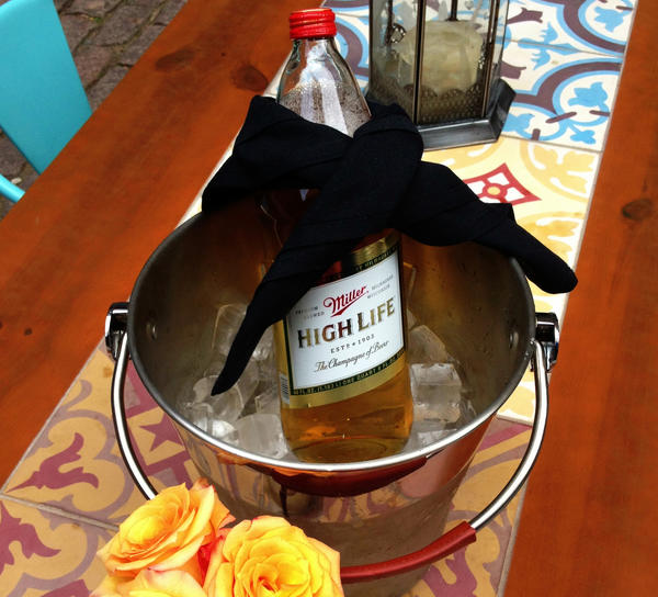 Miller High Life bottle service at RM Champagne Salon