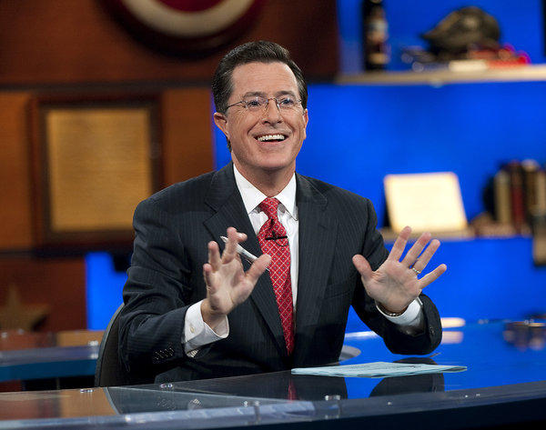 "In this Sept. 8, 2010 photo released by Comedy Central, Stephen Colbert appears during ""The Colbert Report,"" in New York."