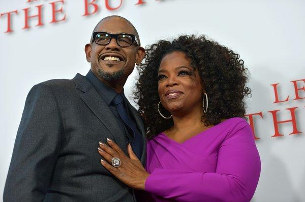 "Oprah Winfrey with Forest Whitaker at ""The Butler's"" Los Angeles premiere"