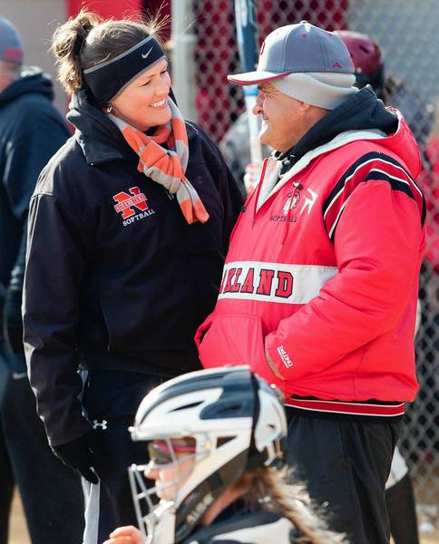 Northampton girls softball head coach Sally Whittaker-Kahan talks with Parkland girls softball head coach Barry Search during Northampton's win over Parkland at Parkland High School on Tuesday April 2, 2013.