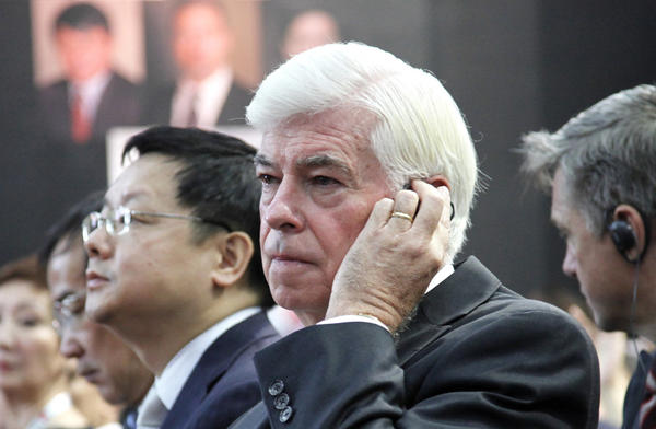 Former U.S. Sen. Chris Dodd, Chairman and CEO of The Motion Picture Association of America, attends a seminar as part of the 14th Shanghai International Film Festival in 2011.