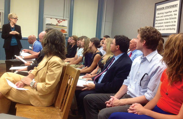 "Barb Martin, left, and other Waynesboro Area School District administrators introduced new teachers to the school board Tuesday. Thirty-five new teachers will be starting in 2013-14. ""This, to our knowledge, is the largest number of new teachers perhaps in the history of the district,"" Assistant Superintendent Wendy Royer said."