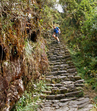 Dave Arnett descends steep stone steps during the Inca Trail Marathon.