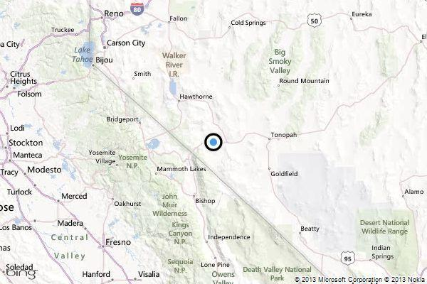 A map showing the location of the epicenter of Tuesday evening's quake near Hawthorne, Nevada.