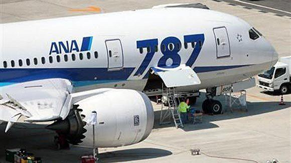 Technicians work on an All Nippon Airways' Boeing 787 Dreamliner at Okayama airport in western Japan in April.