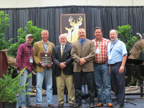 Pictured from left are Ryan Ratajcak, president of the Nortwest Michigan branch of the Quality Deer Management Association; Jim Rummer, president of the Tip of the Mitt branch; Joe Hamilton, Quality Deer Management Association founder; Kip Adams, association director of education and outreach; Kevin Gillespie, Northwest MIchigan branch member and Larry Liebler, Tip of the Mitt branch member. The group was photographed at the national association's convention in Athens, Ga.