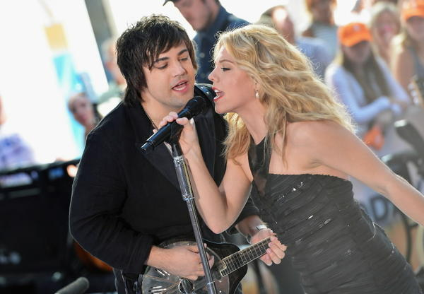"Neil Perry and Kimberly Perry of The Band Perry perform on NBC's ""Today"" in Rockefeller Plaza on Aug. 2, 2013 in New York, New York."