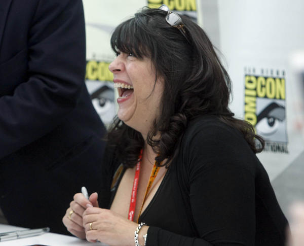 Author E.L. James signing books at San Diego's Comic-Con in 2012.