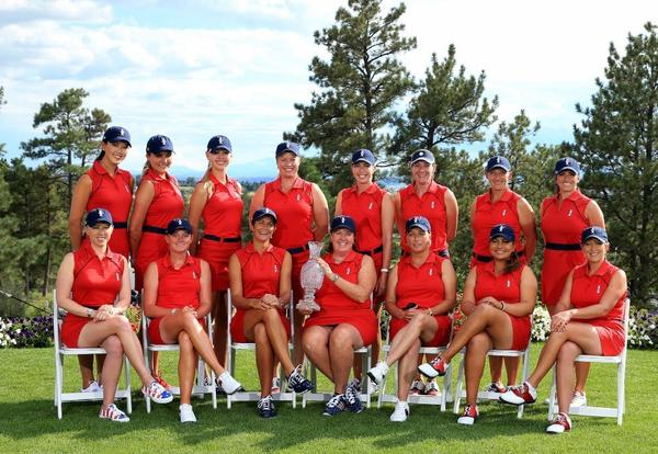 The 2013 United States Solheim Cup Team (front row, left to right) Morgan Pressel, Stacy Lewis, Laura Diaz (assistant captain), Meg Mallon (captain), Dottie Pepper (assistant captain), Lizette Salas, Cristie Kerr, (back row, left to right) Michelle Wie, Lexi Thompson, Jessica Korda, Brittany Lincicome, Paula Creamer, Brittany Laing, Angela Stanford, and Gerine Piller.