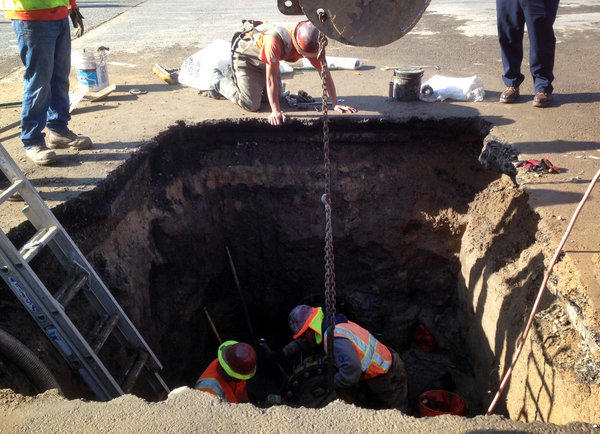 Repairs are underway on a water main break in Simi Valley at the intersection of Tierra Rejada Road and Madera Road.