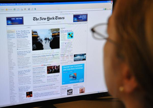 "The New York Times website (shown here in 2010) was down for about an hour Wednesday morning due to a ""technical difficulties."" It was slowly being restored, the company's communications department said through Twitter."
