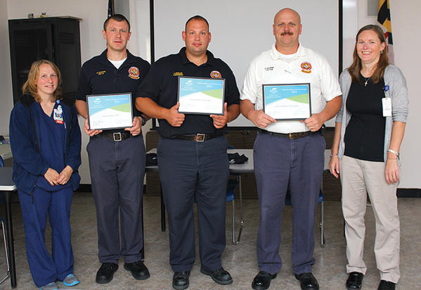Pictured, from left, are Meritus Health's Trauma and Emergency Services Manager Susie Burleson; Drew Dehaven, emergency medical technician-basic with CRS; Jonas Zeigler, paramedic with CRS; Capt. Dennis Browne, paramedic with CRS; and Meritus Healths Kelly Llewellyn.