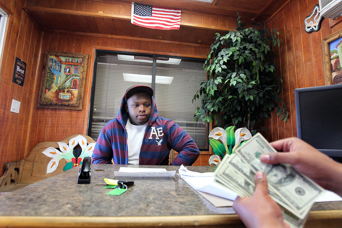 Tyrie jackson makes a down payment on a car at camacho auto sales in lancaster christina house for the times