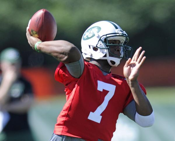 New York Jets quarterback Geno Smith, shown at training camp last month, threw four interceptions during practice Wednesday.