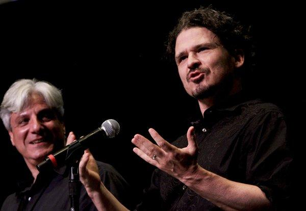 Dave Eggers, with the L.A. Times' David L. Ulin, at the Los Angeles Times Festival of Books