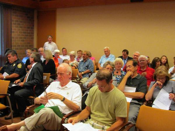 Dozens of people attended a board meeting in Burr Ridge on Aug. 12 regarding a controversial proposal to open up a new pre-owned luxury car dealership in the village.
