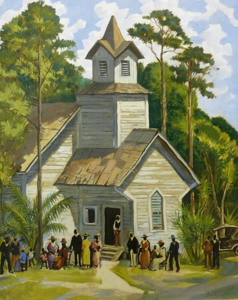 """Church Scene, Eatonville, circa 1940"" is by Andre Smith."
