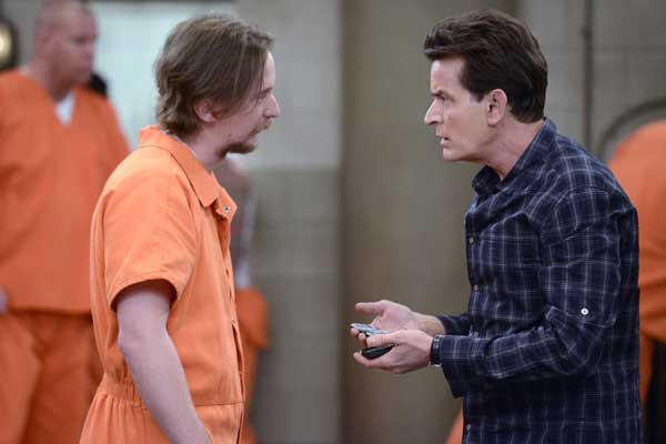 "A prison riot leads to Charlie (Charlie Sheen, right) being held hostage on ""Anger Management"" on FX. With Stephen Monroe Taylor."