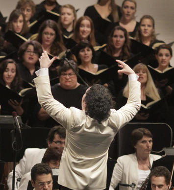 Gustavo Dudamel conducts the Los Angeles Philharmonic in Verdi's Requiem at the Hollywood Bowl on Aug. 13, 2013.