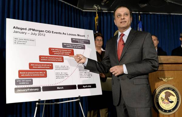 Preet Bharara, the U.S. attorney in Manhattan, unveils criminal charges against two former JPMorgan Chase employees.