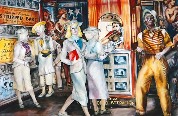 "This close up shot of an oil painting by Reginald Marsh called, ""The Twenty Cent Movie,"" was colorfully recreated on the Pageant of the Masters stage in Laguna Beach."