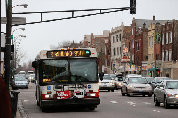An Ashland CTA bus approaches Division Street on Friday, April 19, 2013.
