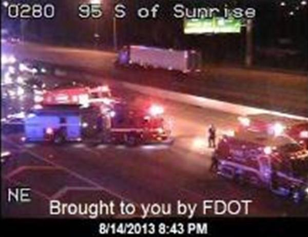 Two motorcycles crashed on Interstate 95 near Sunrise Boulevard and two riders were seriously injured, the FHP said