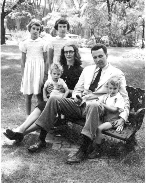 J.F. Powers with his wife, Katherine, and four of their five childern.