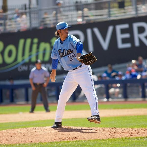 Former St. Francis High pitcher Christian Bergman, of the Double-A Tulsa Drillers, has stabilized himself mentally and physically on the mound after being promoted from the single-A Modesto Nuts following last season. (Courtesy of Rich Crimi)
