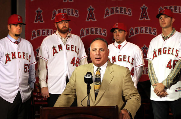 Angels Manager Mike Scioscia introduces pitchers (from left) Joe Blanton, Tommy Hanson, Sean Burnett and Ryan Madson last fall.