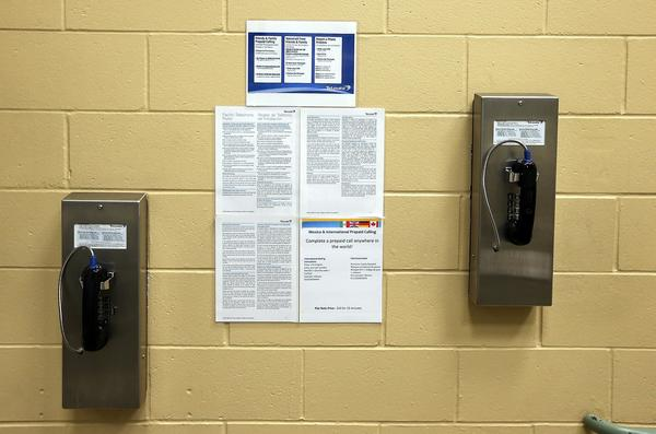 Pay phones for inmates are seen on a wall at the Fremont Police Detention Facility.