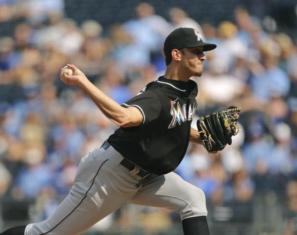 KANSAS CITY, MO - AUGUST 14: Steve Cishek #31 of the Miami Marlins throws in the ninth inning against the Kansas City Royals at Kauffman Stadium August 14, 2013 in Kansas City, Missouri. The Marlins won 5-2. (Photo by Ed Zurga/Getty Images) ORG XMIT: 163495008