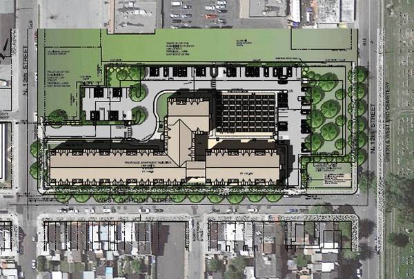 Site plans for a proposed senior living facility to be built on the former Ritter & Smith lumberyard on Gordon Street in Allentown.