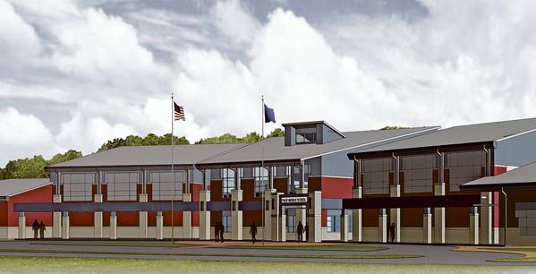 North west view of main entry of the new Page Middle School.