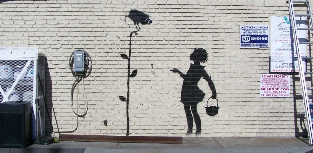 Afbeeldingsresultaat voor banksy girl with flower