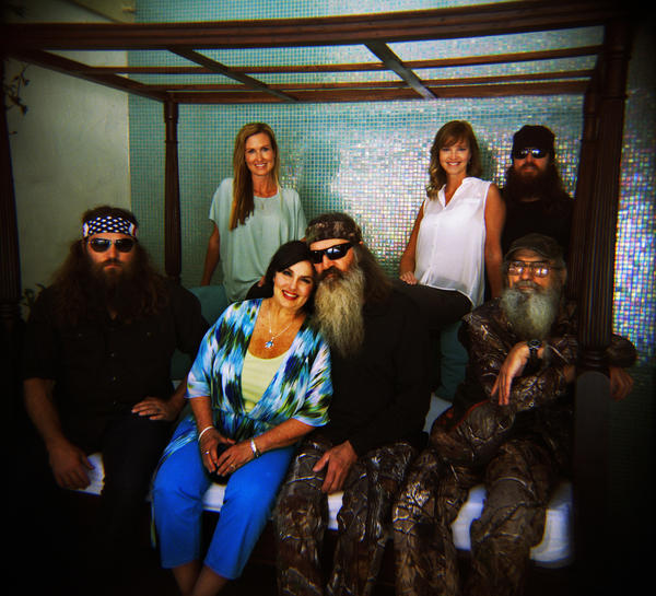 "Members of the Robertson family of A & E reality show, ""Duck Dynasty,"" at the Beverly Wilshire Hotel on February 26, 2013."