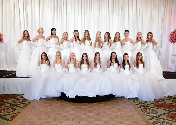 The 2013 debutantes of the Assistance League of Newport-Mesa. Top row, left to right: Kristina Miller, Reegan Dennis, Sara Cluck, Carolyn Smith, Tiffany Silverstein, Alejandra Glover, Megan Clarkson, Kaitlyn Cosenza, Anna Newman, Morgan Mexia, Alexandra Vrabeck and Brittany Delaney. Bottom row, left to right: Chloe Dapp, Nikki Muelhauser, Nicolette Poivre, Michelle Brookes, Amelia Thomas, Brianna Check, Katie Gaitan and Skylar Dapp. Not pictured: Alexandra Mamatas