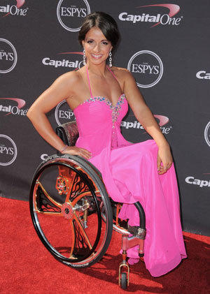 Victoria Arlen, shown at the ESPY awards earlier this year, has been banned from competing at the Paralympic world championships after the paralysis in her legs was ruled not permanent.