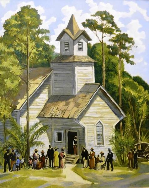 """Images of Eatonville: Then & Now,"" an exhibit at the Maitland Art Center, includes ""Church Scene, Eatonville"" by MAC founder Andre Smith."