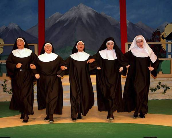 "Cast of the Melon Patch Players' production of ""Nunsense,"" from left, Laney Lavine, Lizdel Collado, Gail Baumann, Kelly Baxter and Sara Gray."