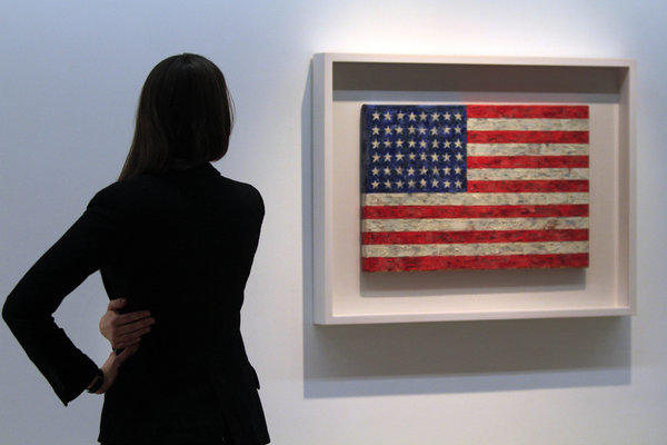 "Jasper Johns, the artist behind ""Flag,"" was defrauded by a former assistant, prosecutors say."