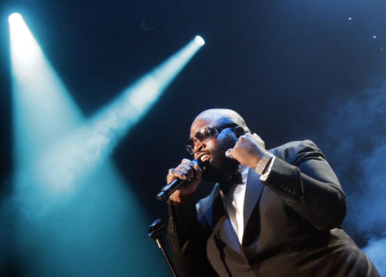 Rick Ross dons a tuxedo for his performance at Club Nokia in Los Angeles on Aug. 14, 2013.