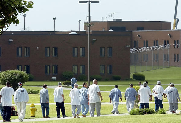In this Herald-Mail file photo, inmates make their way to their cells at Roxbury Correctional Institution. Water is being tested at Roxbury Correctional Institution south of Hagerstown after an inmate was taken to a Baltimore hospital to be treated for Legionnaires disease, according to a state prison official.