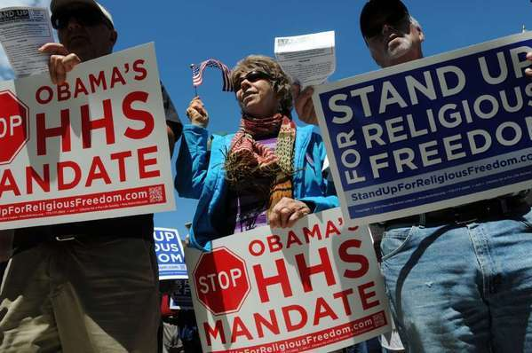 Some opponents of the Affordable Care Act say its contraception coverage mandate amounts to religious persecution. Above, a protest against the healthcare reform law in 2012.