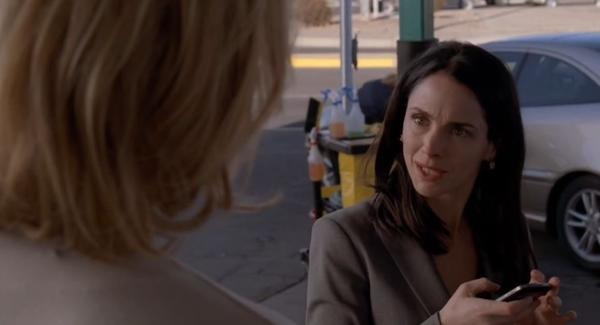 Skyler White (Anna Gunn, left) warns Lydia Rodarte-Quayle (Laura Fraser) to stay away from Walter and their family.
